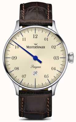 MeisterSinger Pangea fecha correa de cocodrilo marrón dial de marfil PMD903