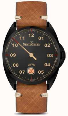 MeisterSinger Metris - Línea negra correa de cuero marrón esfera negra ME902BL