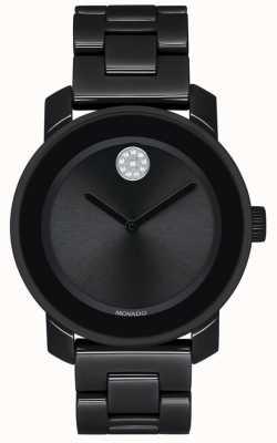 Movado | negrita pulsera de pvd negro plateado | esfera negra | 3600535