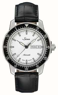 Sinn 104 st sa iw clásico reloj piloto piel de cocodrilo en relieve 104.012 BLACK EMBOSSED LEATHER BLACK STITCHING