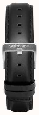 Weird Ape Correa cuero negro 16mm hebilla plata ST01-000045