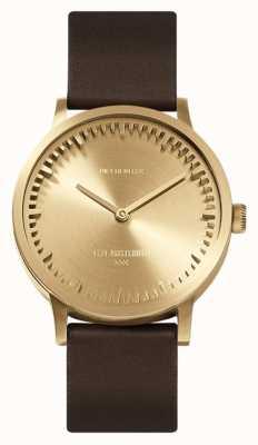 Leff Amsterdam | reloj tubo | t32 | latón correa de cuero marron | LT74323