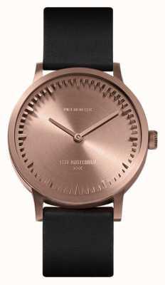 Leff Amsterdam | reloj tubo | t32 | oro rosa | correa de cuero negro | LT74414