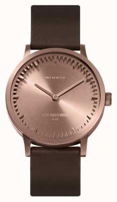 Leff Amsterdam El | reloj tubo | t32 | oro rosa | correa de cuero marrón | LT74424