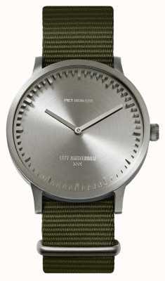 Leff Amsterdam | reloj tubo | t40 | acero | correa verde de la OTAN | LT75131