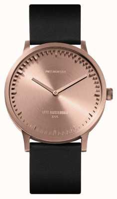Leff Amsterdam | reloj tubo | t40 | oro rosa | correa de cuero negro | LT75414