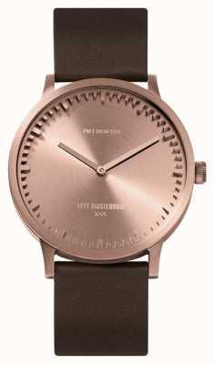 Leff Amsterdam El | reloj tubo | t40 | oro rosa | correa de cuero marrón | LT75424