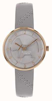 Radley | correa de cuero gris para mujer | esfera de perro con relieve gris | RY2804