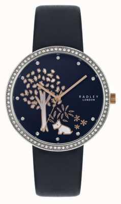 Radley | correa de cuero azul marino para mujer | conjunto de cristal bisel | esfera de árbol RY2783