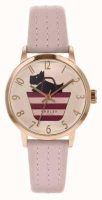 Radley | correa de cuero rosa claro para mujer | perro impreso en bolsa dial RY2794