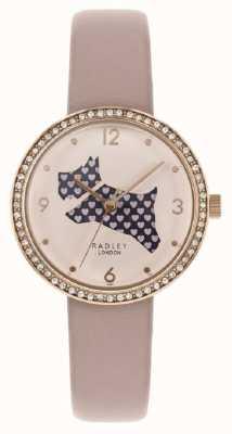 Radley | correa de cuero rosa para mujer | corte dial perro | conjunto de cristal RY2806