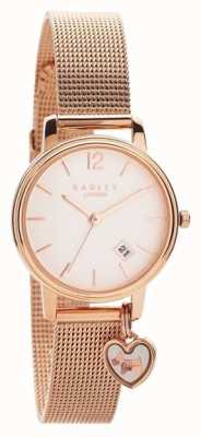 Radley | pulsera de malla de oro rosa para mujer | esfera de oro rosa | RY4390