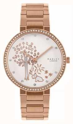 Radley | pulsera de acero rosa dorado para mujer | esfera blanca motivo árbol | RY4388