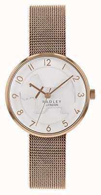 Radley | pulsera de malla de oro rosa para mujer | esfera de perro en relieve blanco | RY4392