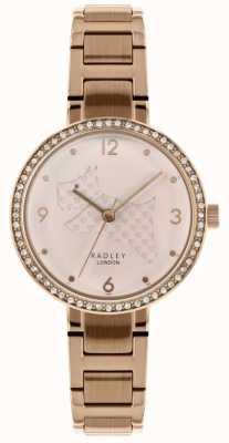 Radley | pulsera de acero rosa dorado para mujer | corte dial perro | RY4394