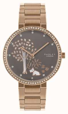 Radley El | pulsera de acero rosa dorado para mujer | esfera de árbol blanco / gris | RY4386