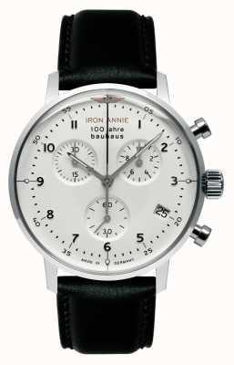 Iron Annie Bauhaus | crono | esfera blanca | cuero negro 5096-1