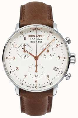 Iron Annie Bauhaus | crono | esfera blanca | cuero marrón 5096-4