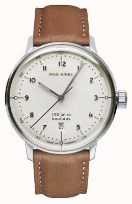 Iron Annie Bauhaus | esfera blanca | correa de cuero marrón 5046-1