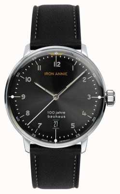 Iron Annie Bauhaus | esfera negra | correa de cuero negro 5046-2