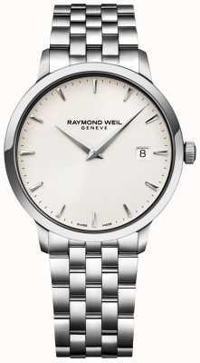 Raymond Weil Reloj de tocino para hombre con esfera color crema pulsera de acero inoxidable. 5488-ST-40001