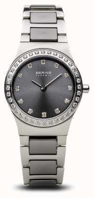 Bering | ceramica para mujer plata pulida | conjunto de cristal | esfera gris | 32426-703