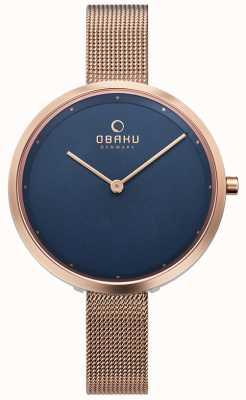 Obaku | dok azure para mujer | malla de oro rosa | esfera azul | V227LXVLMV