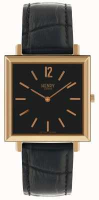 Henry London Reloj Heritage Square con esfera negra y correa de cuero negra HL34-QS-0270