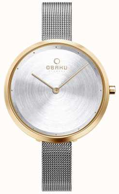 Obaku El | mujer dok gold bi | malla de plata | caja de oro | esfera plateada V227LXGIMC