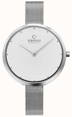 Obaku El | dok acero para mujer | pulsera de malla de plata | esfera blanca | V227LXCIMC