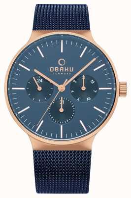 Obaku | mens mos ocean | malla azul | esfera de cronógrafo azul | V229GMVLML