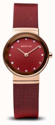 Bering Mujeres | clásico | pulsera de malla de acero pvd rojo 10126-363