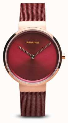Bering Mujeres | clásico | pulsera de malla de acero chapada en pvd rojo 14531-363