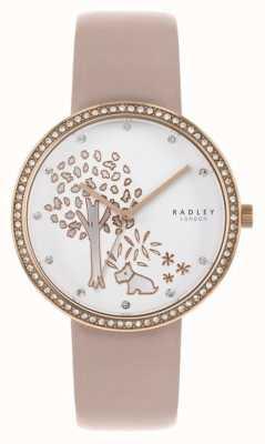 Radley | cuero nude para mujer | esfera de un árbol blanco | conjunto de cristal bisel RY2836