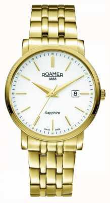Roamer El | línea clásica | acero inoxidable chapado en oro | esfera blanca | 709856-48-25-70
