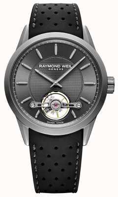 Raymond Weil Hombres | independiente gris esfera automática | correa de caucho negro | 2780-TIR-60001