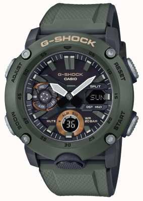 Casio | protector de núcleo de carbono g-shock | correa de caucho verde | GA-2000-3AER