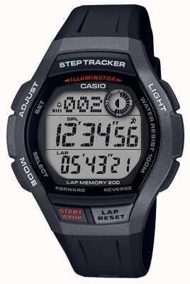 Casio | reloj deportivo, seguidor de pasos | correa de caucho negro | WS-2000H-1AVEF