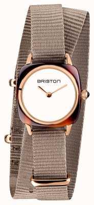 Briston El | dama del clubmaster | correa nato gris pardo simple | pvd de oro rosa 19924.PRA.T.2.NT