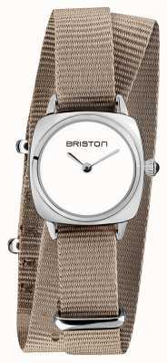 Briston El | dama del clubmaster | correa nato gris pardo simple | esfera blanca | 19924.S.M.2.NT