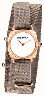 Briston El | dama del clubmaster | single taupe nato | caja de pvd de oro rosa | 19924.SPRG.M.2.NT