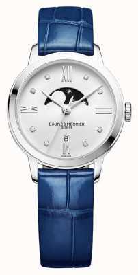 Baume & Mercier | clase de mujer | cuero azul | esfera de luna de plata | BM0A10329