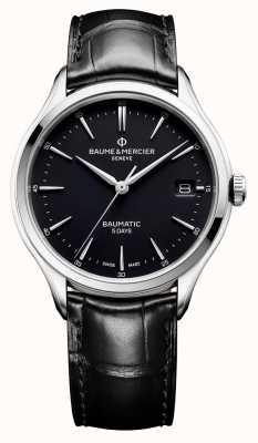 Baume & Mercier | hombre clifton | baumatic | cuero negro | esfera negra | BM0A10399