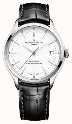 Baume & Mercier El | hombres clifton | baumatic | cuero negro | esfera blanca | M0A10436