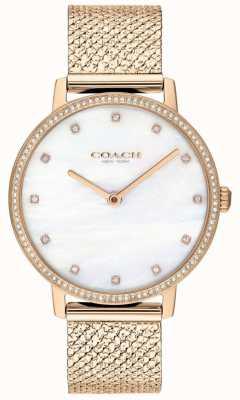 Coach El | mujeres | audrey | malla de pvd de oro rosa | esfera de perlas | 14503360