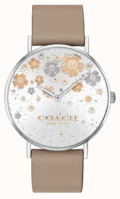 Coach El | perry | correa de cuero de piedra | esfera brillo floral | 14503326