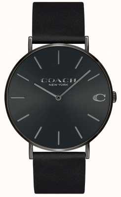 Coach El | hombres | charles | correa de cuero negro | esfera negra | 14602434