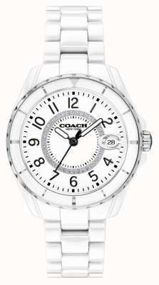 Coach El | mujeres | preston | pulsera de cerámica blanca | esfera blanca | 14503462