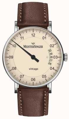 MeisterSinger | vintago para hombre | automático | cuero marron | esfera de color crema | | VT903