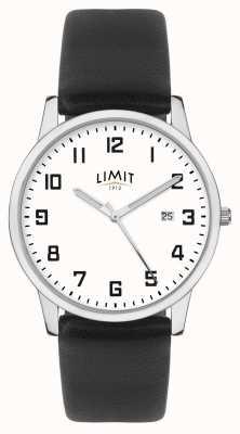 Limit | correa de cuero negro para hombre | esfera plateada / blanca | 5741.01
